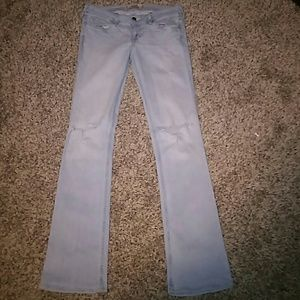 DISTRESSED RIPPED BOOTCUT HOLLISTER JEANS
